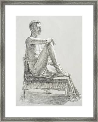 Male Model Seated Charcoal Study Framed Print