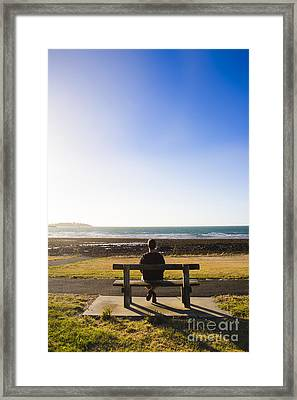 Male Tourist Enjoying Ocean Landscape Sunset Framed Print