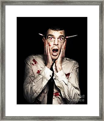 Male Zombie Businessman Displaying Shock Horror Framed Print by Jorgo Photography - Wall Art Gallery