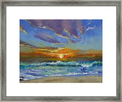 Malibu Beach Sunset Framed Print by Michael Creese