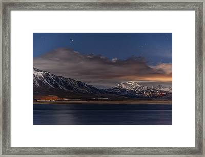 Mammoth At Night Framed Print by Cat Connor