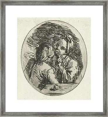 Man And Woman Talking, Louis Bernard Coclers Framed Print by Louis Bernard Coclers