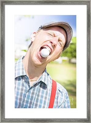 Man Catches Golf Ball In Mouth Framed Print by Jorgo Photography - Wall Art Gallery