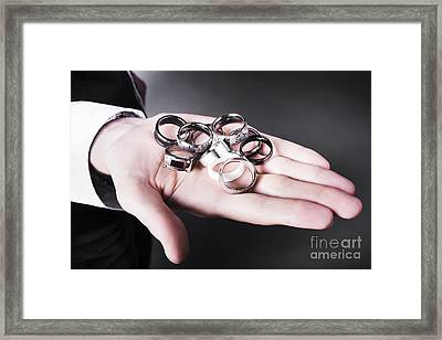 Man Displaying A Selection Of Stylish Rings Framed Print