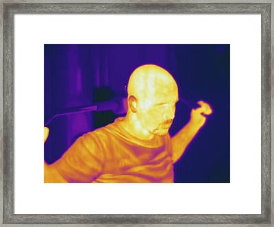 Man Exercising, Thermogram Framed Print by Science Stock Photography