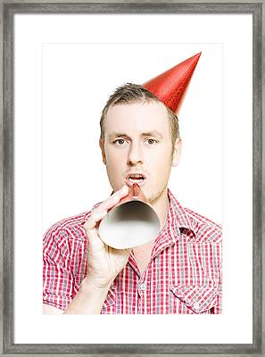 Man Giving Birthday Invitation Through Party Hat Framed Print by Jorgo Photography - Wall Art Gallery