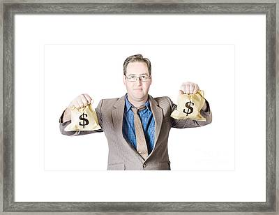 Man Holding Money Bags On White Background Framed Print