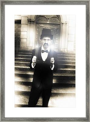Man Holding Vintage Gold Picture Frame Framed Print by Jorgo Photography - Wall Art Gallery