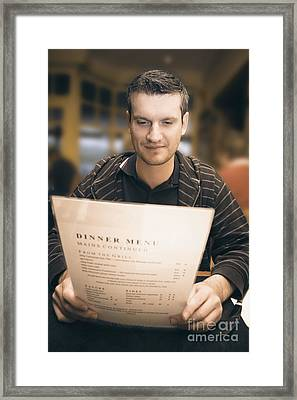 Man In Mid 20s Reading Restaurant Dinner Menu Framed Print