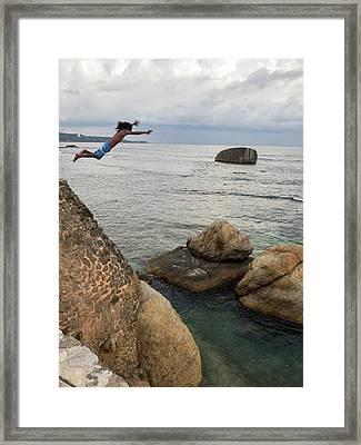 Man Jumping Off Flag Rock Bastion Framed Print