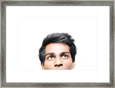 Man Looking For Guidance And Inspiration Framed Print