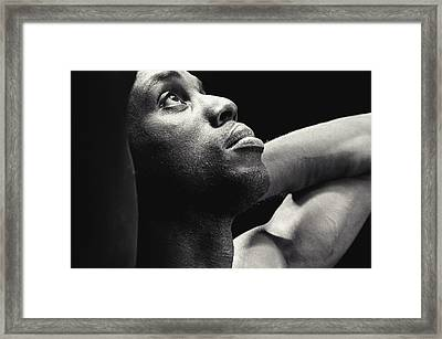 Man Looking Up Framed Print by Darren Greenwood