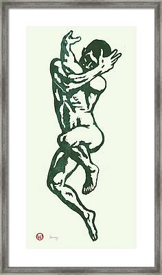 Man Nude Pop Stylised Etching Art Poster  Framed Print