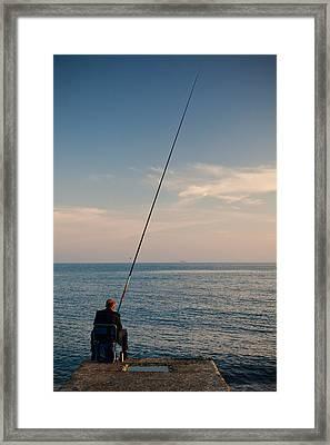 Man Pier Fishing, Lighthouse Beach Framed Print