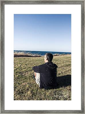Man Relaxing On Holiday At Devonport Tasmania Framed Print by Jorgo Photography - Wall Art Gallery