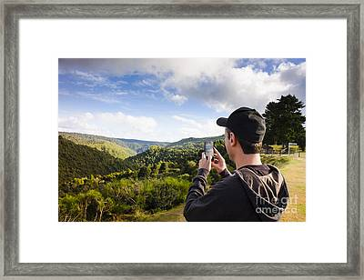 Man Taking Mountain Photo Of Tarkine Reserve Framed Print