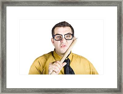 Man Thinking Up Big Marketing Campaign Framed Print by Jorgo Photography - Wall Art Gallery