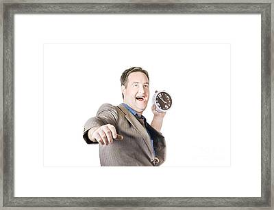 Man Throwing Time Out Window With Chucking Clock Framed Print by Jorgo Photography - Wall Art Gallery