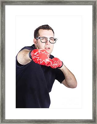 Man With Boxing Gloves Framed Print