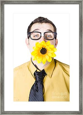 Man With Flower In Mouth Framed Print by Jorgo Photography - Wall Art Gallery
