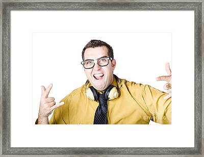 Man With Headphones Framed Print by Jorgo Photography - Wall Art Gallery