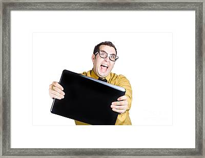 Man With Laptop Framed Print