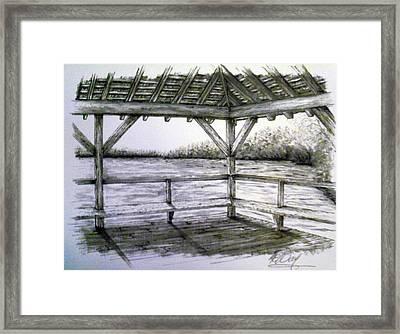 Manahawkin Pavilion Framed Print by Martin Way