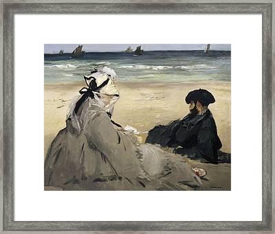 Manet, �douard 1832-1883. On The Beach Framed Print
