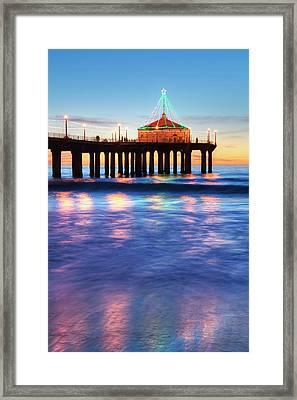 Manhattan Beach Pier At Sunset Framed Print