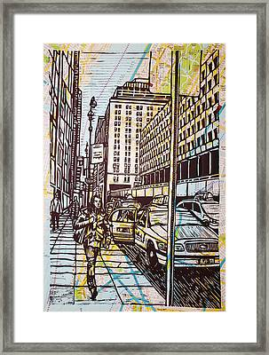 Manhattan On Map Framed Print by William Cauthern