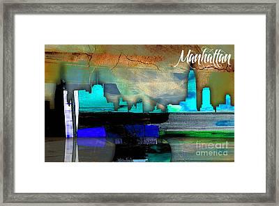 Manhattan Skyline Watercolor Framed Print by Marvin Blaine