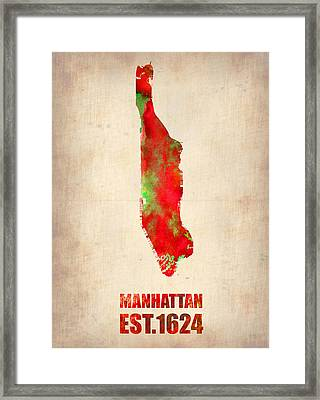 Manhattan Watercolor Map Framed Print by Naxart Studio