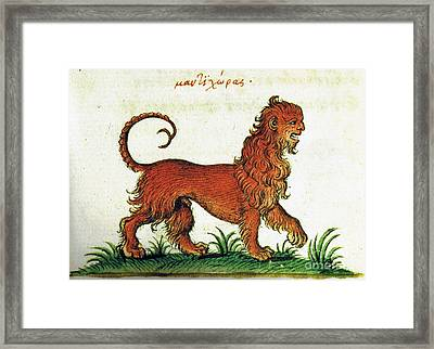 Manticore, Legendary Creature Framed Print by Photo Researchers