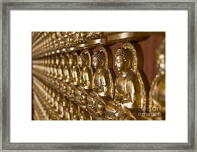 Many Image Of Buddha On Wall Framed Print by Tosporn Preede
