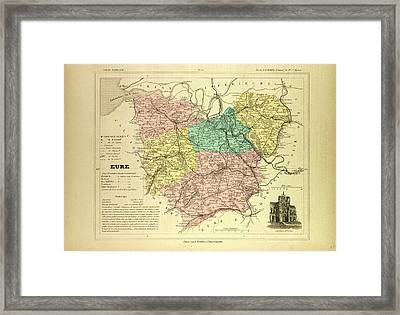 Map Of Eure France Framed Print