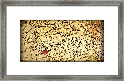 Map Of Florence Tuscany Italy Europe In A Antique Distressed Vin Framed Print by ELITE IMAGE photography By Chad McDermott
