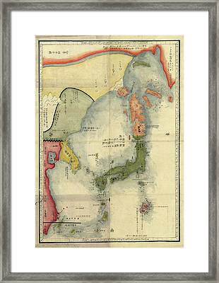 Map Of Japan Framed Print by Library Of Congress, Geography And Map Division