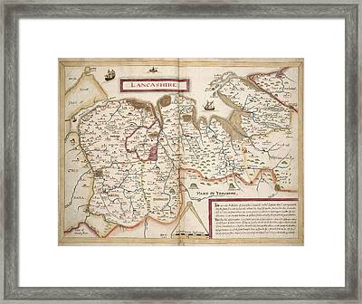 Map Of Lancashire Framed Print by British Library