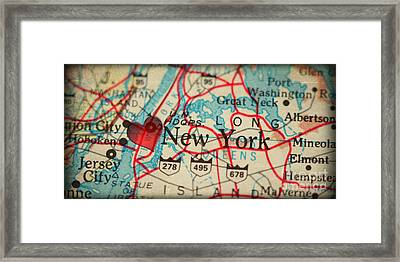Map Of New York City Usa In A Antique Distressed Vintage Grunge  Framed Print by ELITE IMAGE photography By Chad McDermott