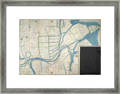 Map Of Osaka Framed Print