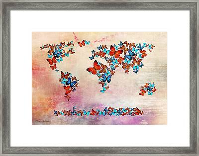 Map Of The World Framed Print by Mark Ashkenazi