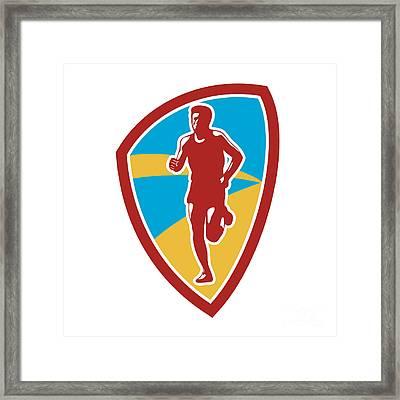 Marathon Runner Shield Retro Framed Print