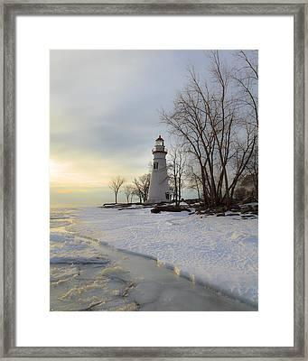 Marblehead Lighthouse Winter Sunrise Framed Print