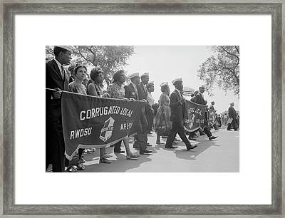 Marchers Carrying Labor Union Banners Framed Print