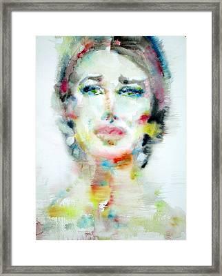 Maria Callas - Watercolor Portrait.2 Framed Print by Fabrizio Cassetta