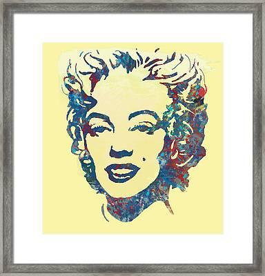Marilyn Monroe Stylised Pop Art Drawing Sketch Poster Framed Print by Kim Wang