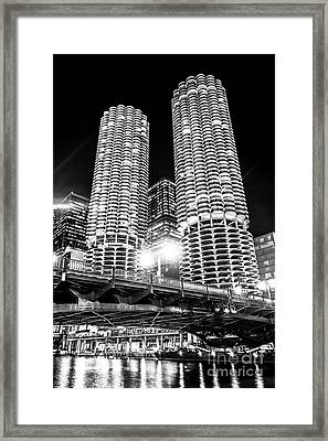 Marina City Towers At Night Black And White Picture Framed Print