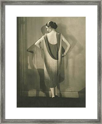 Marion Morehouse In A Chanel Dress Framed Print