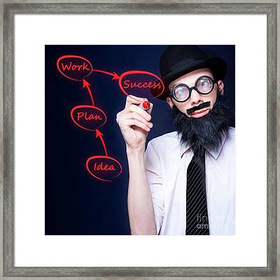 Marketing Business Man Drawing Success Diagram Framed Print