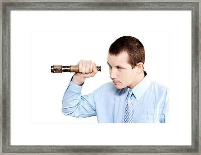Marketing Man Conducting Competitor Analysis Framed Print by Jorgo Photography - Wall Art Gallery